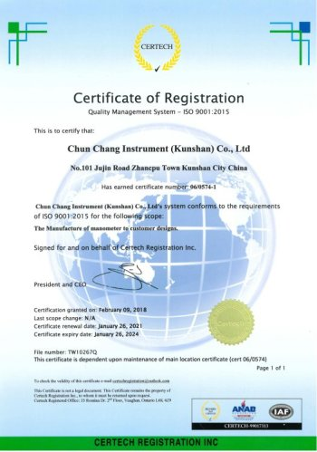 CHUEN CHARNG CO LTD ISO CERTIFICATE